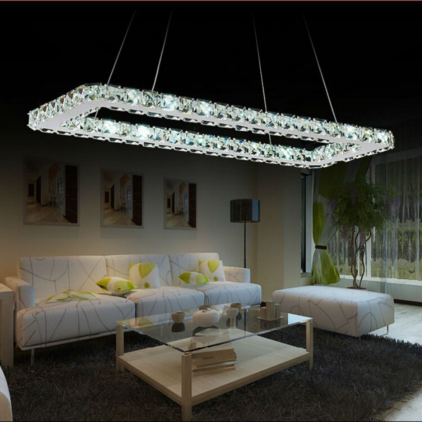 Luxurious Silver Square Crystal LED K9 Crystal Pendant Light / led lustre light/ lighting Fixture Modern LED droplight 85V-260V vallkin modern round led pendant light clear k9 crystal and silver stianless steel d40cm 18w ce fcc rohs