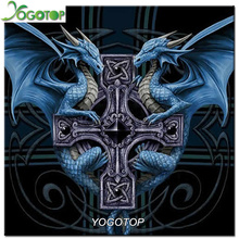 Yogotop mosaico patrón de diamantes de imitación de la costura diy diamante pintura de punto de cruz de diamantes cuadrados puntada diamante dragón bordado vs680