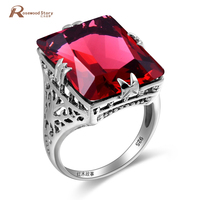 Genuine African Red Ruby Ring Authentic 925 Sterling Silver Gem Stones Woman Madam Jewelry Rings Engagement