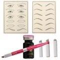 1 Makeup Tattoo Set Microblading Pen+Eyebrow Micropigment Black Eyebrow Practice Skin+12 14 18 Needles