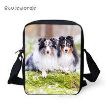 ELVISWORDS Fashion Messenger Bag Sheltland Sheepdog Pattern Womens Over the Shoulder Cross Body Bags Cute Travel Mini Purse