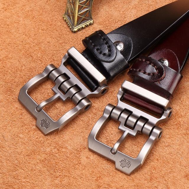 BISON DENIM Belt Cowskin Genuine Leather Personality Men belt 3