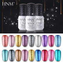 HNM Giltter Bling Color Nail Polish 8ML Soak Off UV LED Lamp Gel Polish Semi Permanent Lucky Lacquer Paint Gellak Stamping Glue(China)