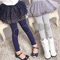 2016 Nova Baby Girl Padrão de Flor Duas Camadas Pantskirt Leggings Miúdo Engrossar Fleece Inverno Crianças Calças Quentes Calças