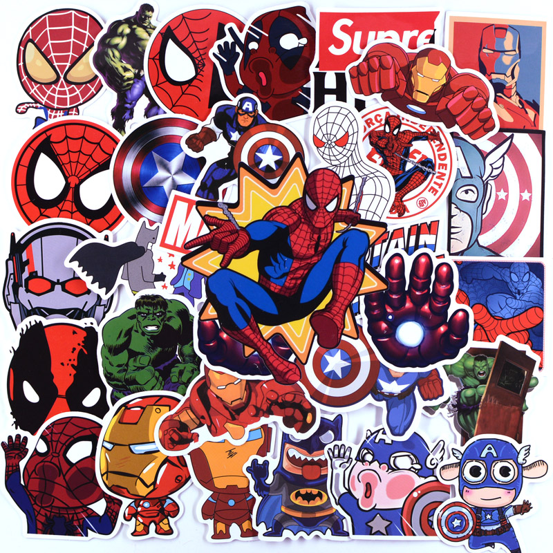 50pcs Pack Stickers Avengers Super Heroe Anime Pegatina For On The Children Laptop Suitcase Phone Fridge Skateboard Cool Sticker