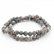Newest Rose Gold CZ Paved Copper Ball Natural 8MM Marble Stone Bead Pulseras Hombre Charm Elastic Bracelet Jewelry for Men Women