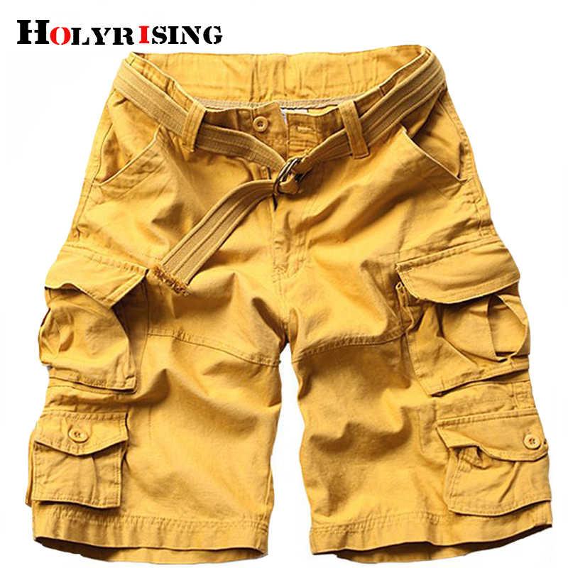 Holyrising ฟรีเข็มขัดผู้ชาย 100% ฝ้ายหลายกระเป๋าทหารผู้ชายสั้นลวงตาสินค้ากางเกงขาสั้นกางเกง 11 สี 18803-5