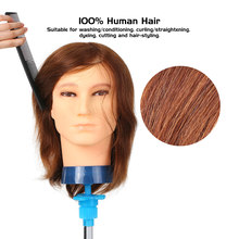 100% Human Hair Male Manikin Head Hairdresser Training Head for Styling Dye Cutting Braiding Hair Styling Training Dummy Head(China)