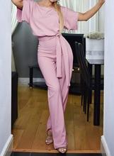 Women Short Sleeve Playsuit Clubwear Straight Leg Jumpsuit With Belt Wear Long Length Jumpsuit