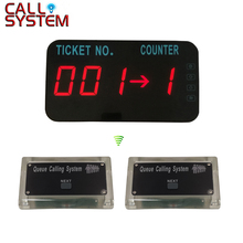 Wireless Queue Management Call System LED Display Show Tickets Number and Counter Number 2 control button + 1 display wireless service call system in 433 92mhz for restaurant with 30pcs call buttons and 1 led number display dhl shipping free