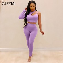 c3cae9f3ece71 Purple Sexy Two Piece Tracksuit Women Spaghetti Strap Long Sleeve Crop Tops+Fitness  Pencil Pants Casual Outfit Fall 2 Piece Set