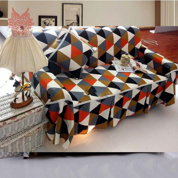 US $38.6 |High grade home textile blue/orange check print 100%cotton canvas  Sofa cover Modern style Sofa towel free shipping SP1368-in Sofa Cover from  ...