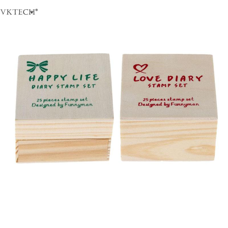 25pcs/Set Cute Cartoon Wooden Rubber Stamp Lovely Diary Pattern Cute DIY Writing Wood Stamps for Scrapbooking Decorative Stamps 4 set pack wooden box lovely diary stamp rubber cute diy writing scrapbooking stamp gift clear stamps for scrapbooking wholesale