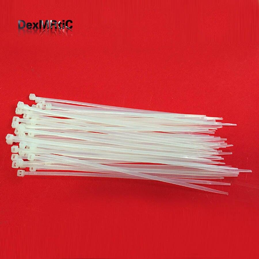 100pcs 15cm Nylon Plastic Zip Trim Wrap Cable Loop Ties Wire Aeromodelling tie Self-Locking White