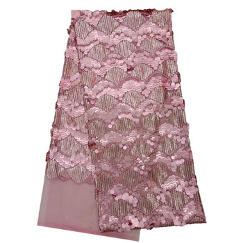 HFX Baby Pink Scale Sequin African Lace Fabric Nigeria Bridal High Quality Tulle Lace Embroidered Net Lace Fabric X1136-4