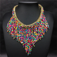 2015 Fashion Jewelry Mujer New Bohemian Necklaces Women Handmade Handwoven Collier Long Tassel Beads Choker Statement Necklaces