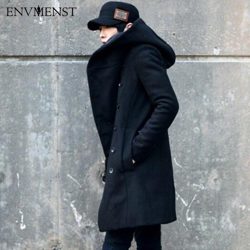 Новинка 2017 года Корейская мода Для мужчин, Цвет шерстяное пальто с капюшоном сзади Разделение длинная куртка пальто человек плотные облега...
