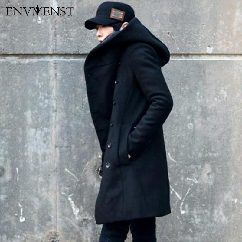2017 nueva moda coreana de los hombres de color sólido con capucha abrigo de lana espalda dividida chaqueta larga abrigo hombre espesar delgado con capucha