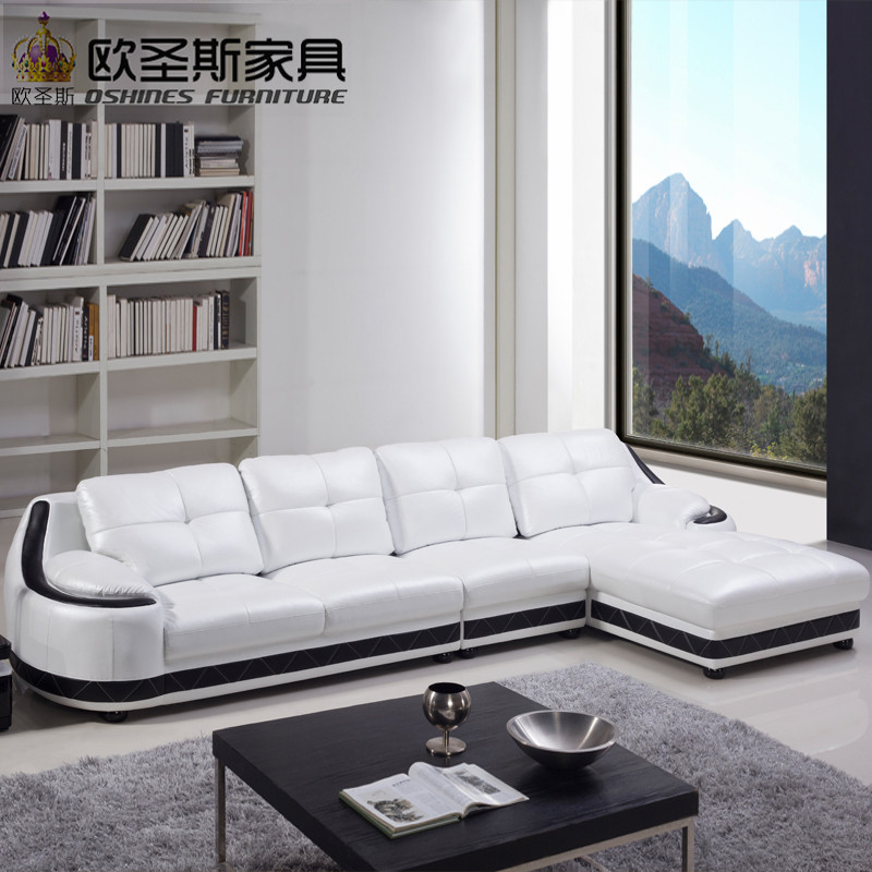 Mexico Leather Sofa Furniture Latest Sofa Designs 2019 L Shaped Big White  Leather Corner Round Sofa OCS-650