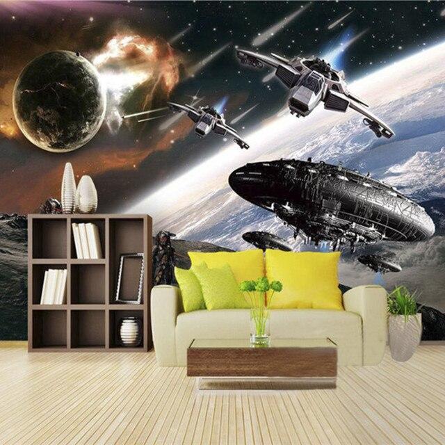 24 27 46 De Reduction Papier Peint Photo Personnalise 3d Bande Dessinee Stereo Choc Star Wars Mural Chambre D Enfant Cafe Ktv Toile De Fond Papier