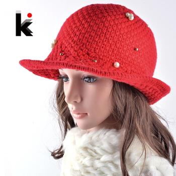 2016 New autumn and winter womens bucket hat  knitted Topper ladies floppy cap bowler caps lady pearl hats for women 1
