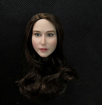 1/6 European Beauty Head Adele with Brond and Brown Hair for 12'' Pale Body Figures