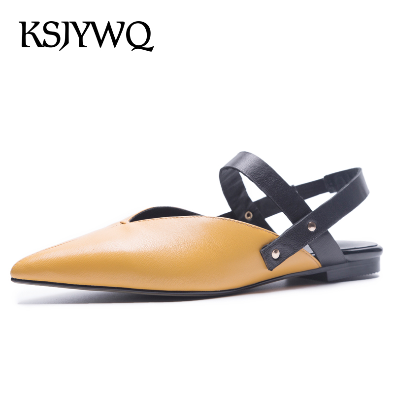 KSJYWQ White Genuine Leather Women Sandals Sexy Pointed-toe Flats Summer Style Party Shoes Fashion Sandal Woman Box Packing 1035 ksjywq genuine leather flowers women sandals sexy exposed toe white shoes summer style clip toe shoes woman box packing a2571