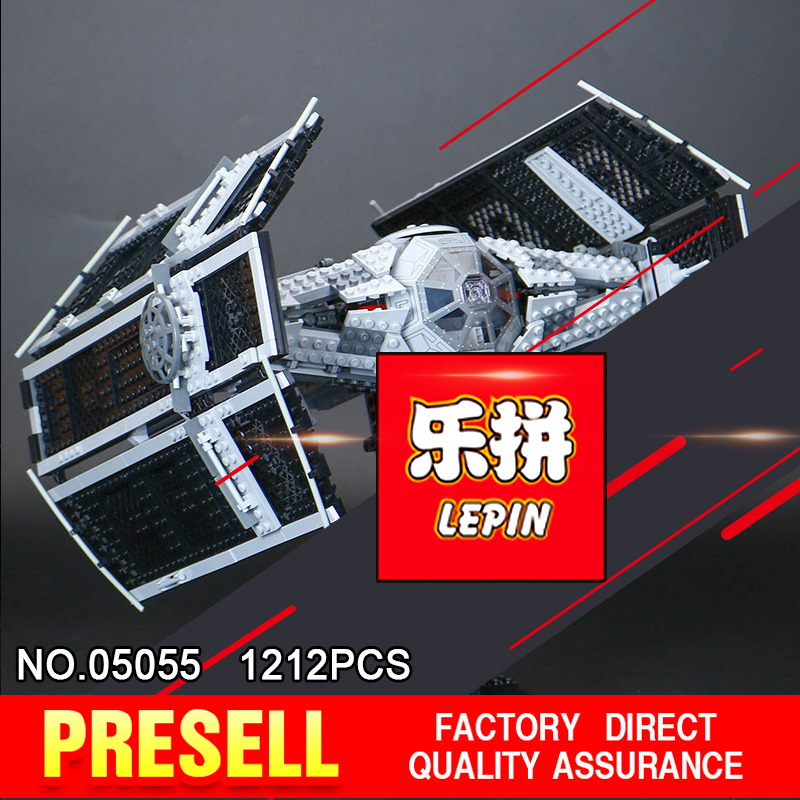 LEPIN 05055 Star 1212Pcs Toy Wars Vader TIE advanced fighter aircraft Model Building Kit Blocks Bricks Compatible Children 10175 lepin 05060 star series wars ucs naboo star type fighter aircraft model building blocks bricks compatible legoed 10026 toy gifts