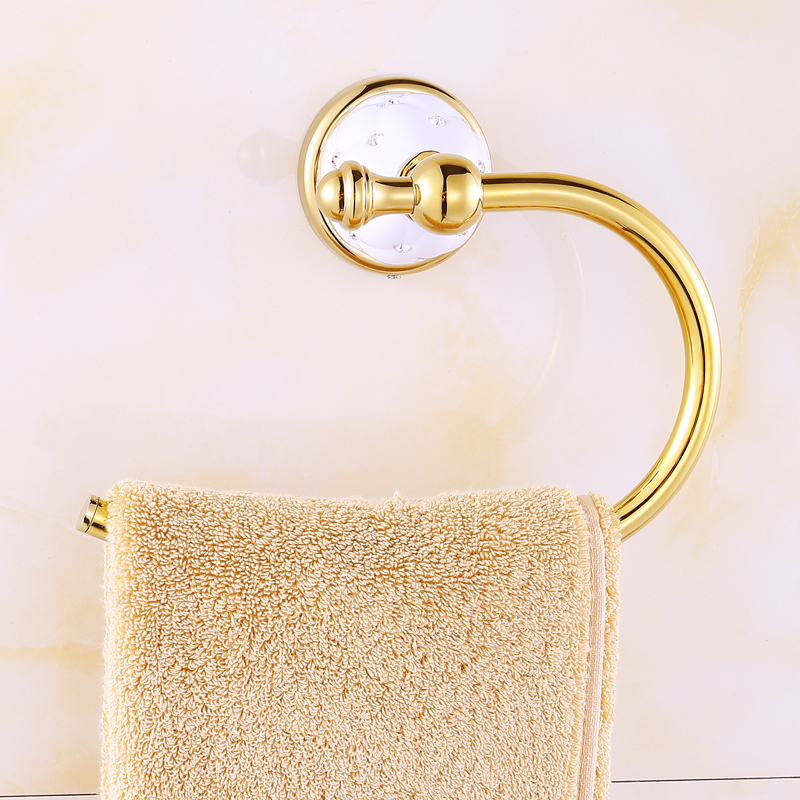 Bathroom brass gold silver black with diamond towel ring for Gold and silver bathroom accessories