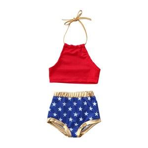 1-7Y 2PCS Summer Children Swimsuit Girls Kids Swimwear for 4th of July Bikini Baby Kids Swimsuit Bathing Suit