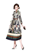 New Printed Mid-long Dresses in Early Spring of 2019 Printing middle-waisted Stand Party Casual Street