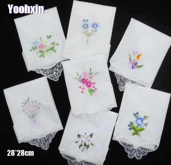 3PCS Luxury Cotton Women Hankies Embroidered Butterfly Lace Flower Hanky Floral Random Color Cloth Ladies Handkerchief Fabrics