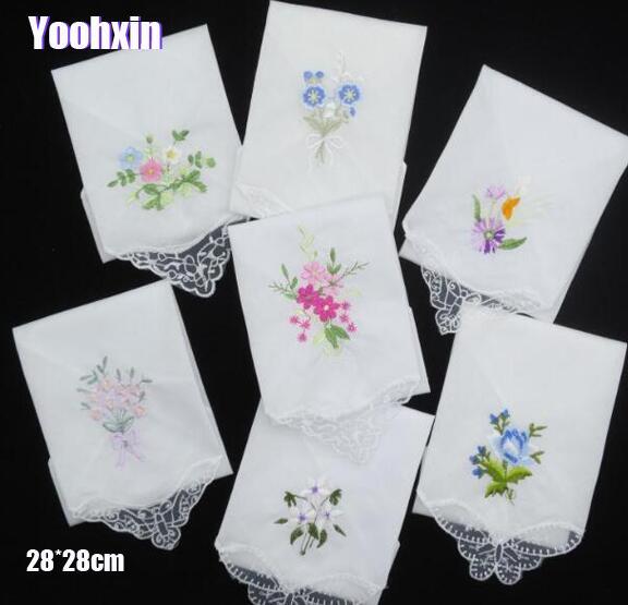 3PCS Luxury Cotton Women Hankies Embroidered Lace Flower Hanky Floral Random Color Cloth Ladies Handkerchief Fabrics