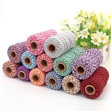 Corda torcida para embalagem de presente, acessórios de embalagem diy, decoração de festa de casamento, embalagem de cor dupla, de algodão