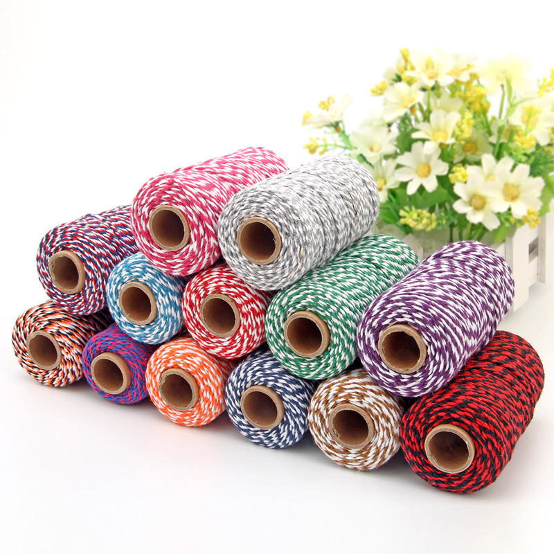 DIY Twisted Cords Gift Packaging Accessories Packing Decoration Wedding Party Packaging Double Color Cotton Baker Twine Rope-in Cords from Home & Garden