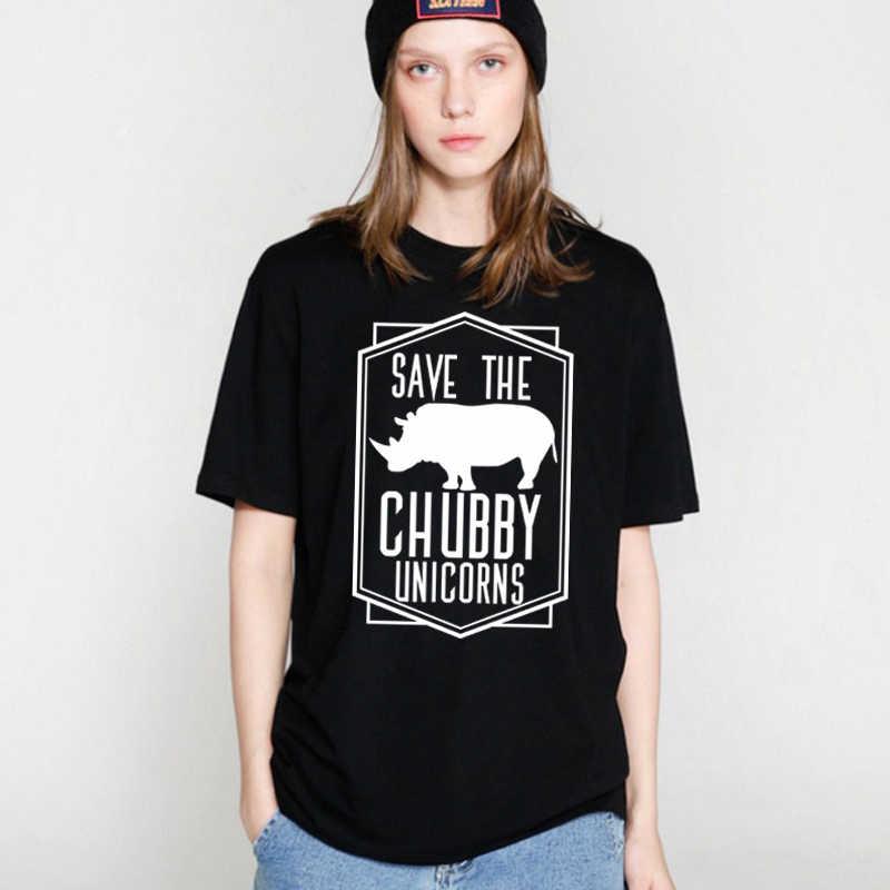 Showtly Rinoceronte Shirt Risparmia Il Paffuto Unicorno Divertenti T-shirt delle Donne Graphic Tee Magliette e camicette Foodie Regalo Manica Corta