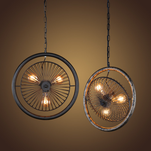 Retro electric fan style pendant light e27 rural industrial wind turbine pendant lamp designer lights for