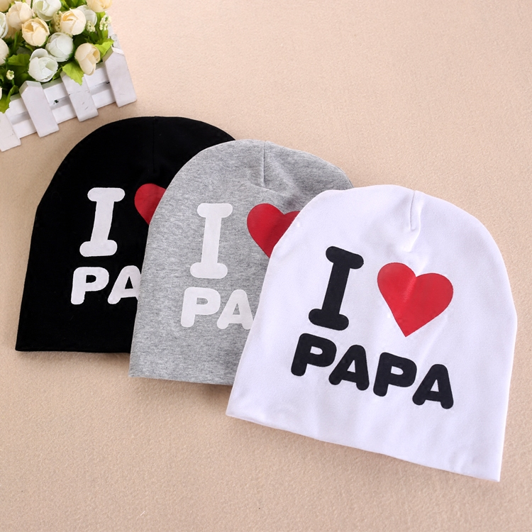 Unisex Cotton Beanie Baby Hat cute baby Kids Caps Infant Cotton Baby Hats Beanies Cap Toddler Boys Girls I love Mom And Dad Cap
