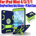 For iPad Mini 4/3/2/1 Silicone + PC Hard Case Kids Safe Armor Drop Shock Proof Heavy Duty with Screen Protector IM409