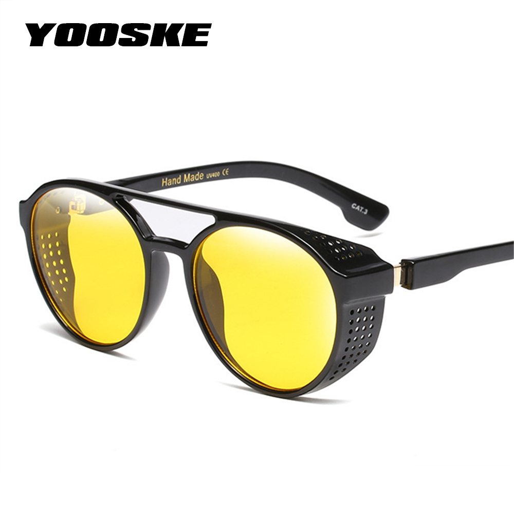 3b1bbac1d1b50 YOOSKE Rodada Óculos De Sol Dos Homens Do Vintage Óculos Steampunk óculos  de Sol Das Mulheres Designer De Marca Retro UV400 Twin-Vigas Óculos De Sol  Tons