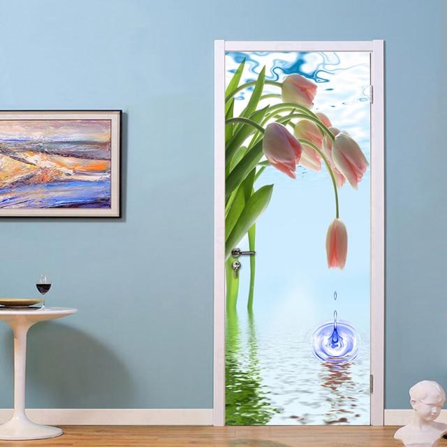 PVC Waterproof Self-adhesive Door Sticker Mural Wallpaper Tulip Flower Water Drops 3D Room Door  sc 1 st  AliExpress.com & PVC Waterproof Self adhesive Door Sticker Mural Wallpaper Tulip ...