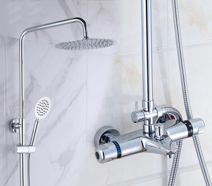Bathroom thermostatic shower faucet shower head set,Wall mount shower faucet mixer,Brass shower faucet thermostatic mixing valve wall mounted two handle auto thermostatic control shower mixer thermostatic faucet shower taps chrome finish