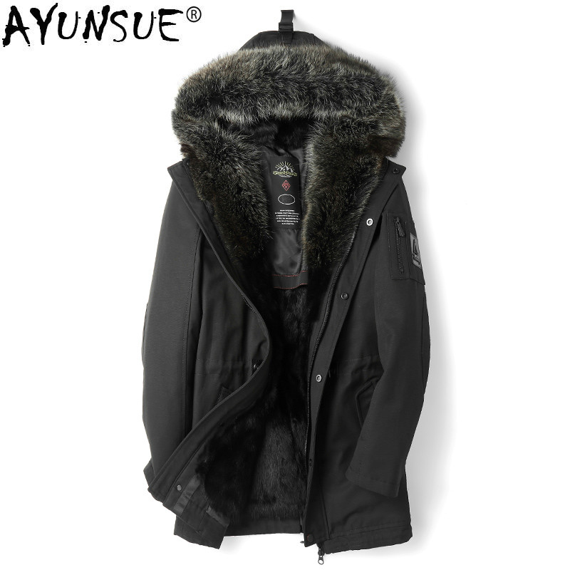 Back To Search Resultsmen's Clothing Smart Ayunsue Real Fur Coat Men Parka Jacket Winter Long Mink Coat Natural Martes Fur Coats Big Racoon Fur Collar Mens Parkas Kj1180 High Quality Jackets & Coats