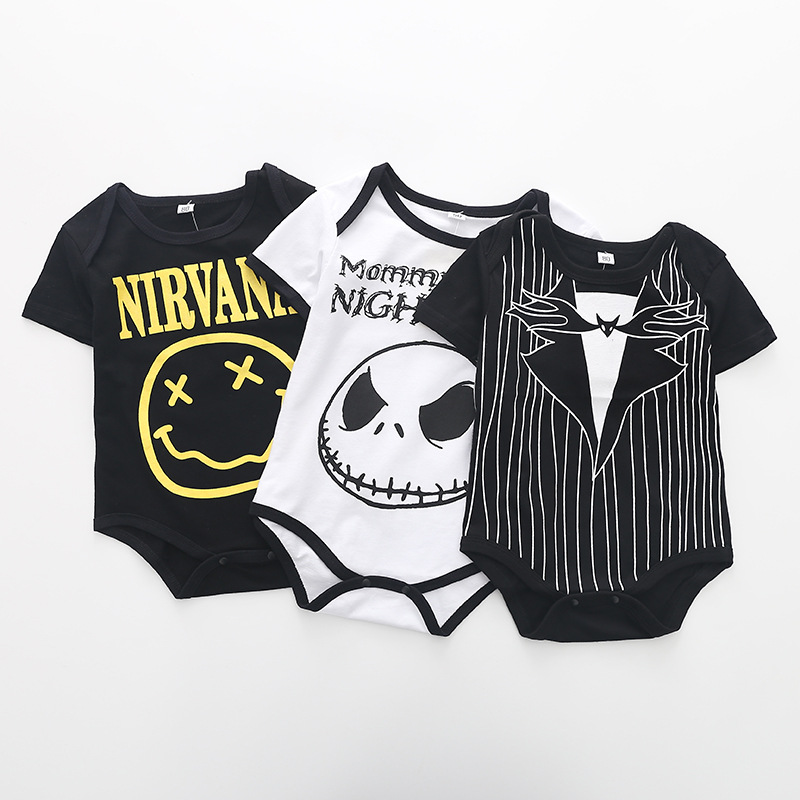 все цены на Summer Fashion Baby Boys Halloween One-piece Bodysuit Mommy's Little Nightmare Print Baby Gentleman Jumpsuit Clothes Outfit DS9