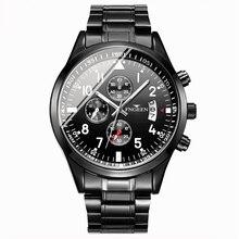 FNGEEN Black Steel Watch Men Fashion Men Wristwatch Male Luxury Brand Quartz Clock Man Calendar Waterproof Watches Relojes цена и фото