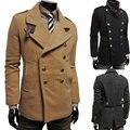 2015 nueva marca invierno hombre de la chaqueta de lana solapa capa ocasional abrigo para hombre espesar chaquetas hombres doble botonadura abrigo