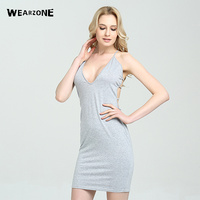 2017 Sexy Grey Bandage Bodycon Dresses Halter Deep V Neck Lace Up Summer Party Club Dresses