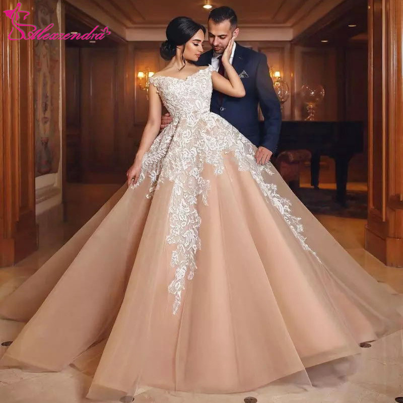 Alexzendra Off The Shoulder Champagne Gorgeous Ball Gown