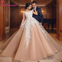 Alexzendra Off the Shoulder Champagne Gorgeous Ball Gown Wedding Dress 2018 V Neck New Wedding Bridal Gowns Vestido De Noiva