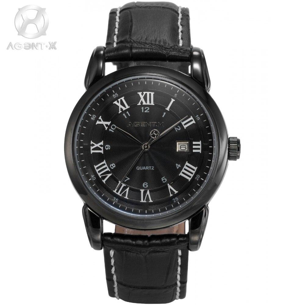 Luxury AGENTX Black Roman Arabic Analog Date Display Leather Band Japan Quartz Movement Mens Casual Wrist Watch Watches / AGX136